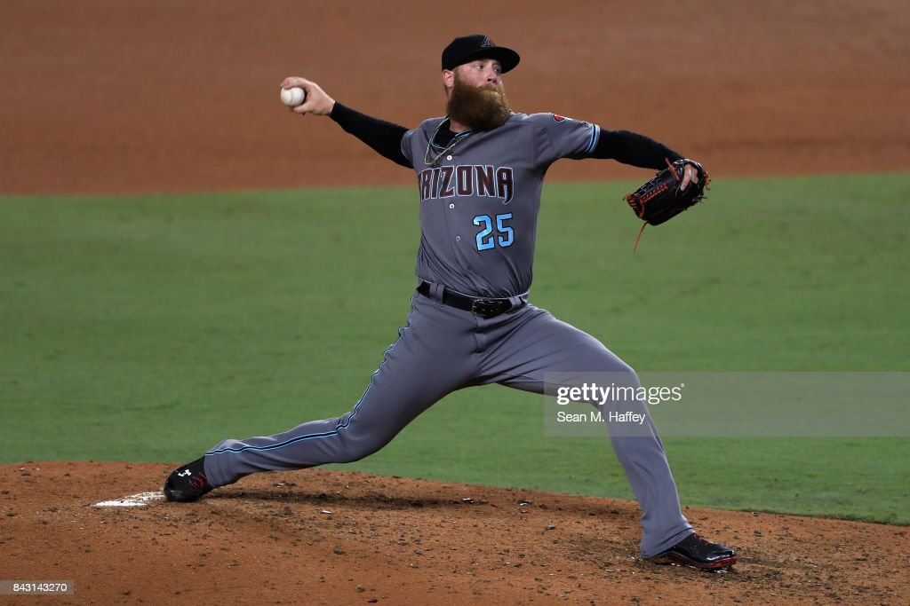 Archie Bradley #25 of the Arizona Diamondbacks pitches during the ninth inning of a game against the Los Angeles Dodgers at Dodger Stadium on September 5, 2017 in Los Angeles, California.