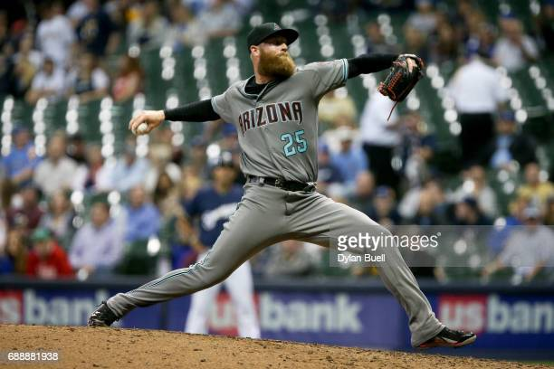 Archie Bradley of the Arizona Diamondbacks pitches in the eighth inning against the Milwaukee Brewers at Miller Park on May 25 2017 in Milwaukee...