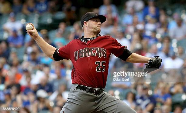 Archie Bradley of the Arizona Diamondbacks pitches in the first inning against the Milwaukee Brewers at Miller Park on July 27 2016 in Milwaukee...
