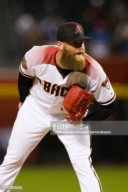 Archie Bradley of the Arizona Diamondbacks prepares to deliver a pitch during a game against the Los Angeles Dodgers at Chase Field on April 30 2018...