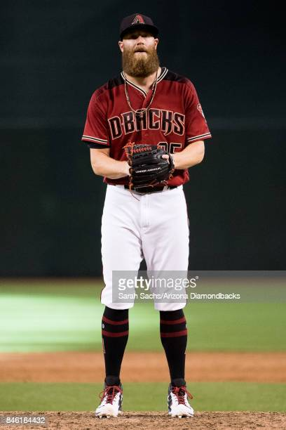Archie Bradley of the Arizona Diamondbacks prepares to deliver a pitch during a game against the San Diego Padres at Chase Field on September 10 2017...