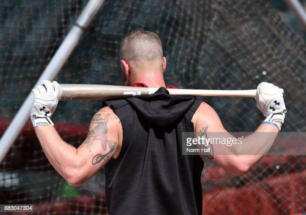Archie Bradley of the Arizona Diamondbacks takes batting practice prior to a game against the Pittsburgh Pirates at Chase Field on May 12 2017 in...