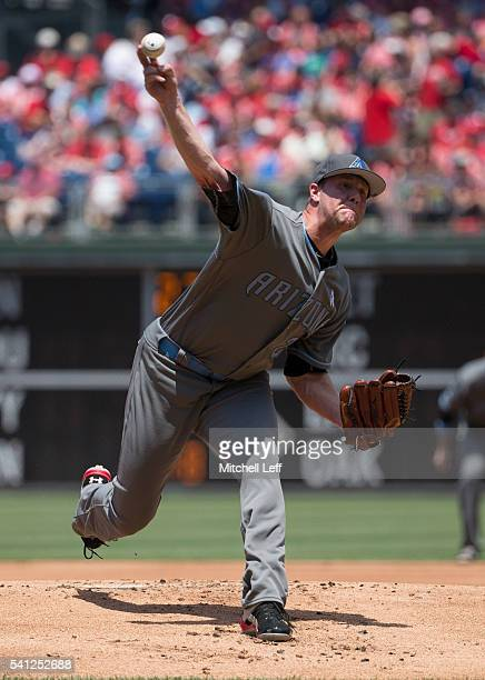 Archie Bradley of the Arizona Diamondbacks throws a pitch in the bottom of the first inning against the Philadelphia Phillies at Citizens Bank Park...