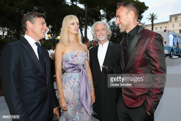 Archie Drury Karolina Kurkova Hermann Buehlbecker and Philipp Plein attend the amfAR Gala Cannes 2017 at Hotel du CapEdenRoc on May 25 2017 in Cap...