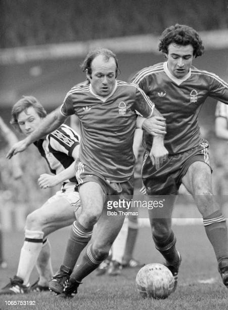 Archie Gemmill and Martin O'Neill of Nottingham Forest get in each others way during the FA Cup Quarter Final tie between West Bromwich Albion and...