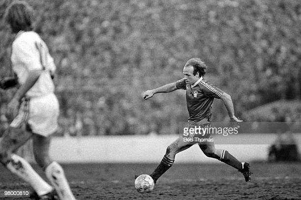 Archie Gemmill in action for Nottingham Forest during the European Cup SemiFinal 1st leg against FC Cologne at the City Ground in Nottingham 11th...