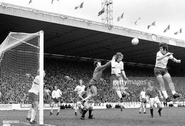 Archie Gemmill watches his goalkeeper Graham Moseley go out to clear ball from a Man Utd attack during the FA Cup semifinal at Hillsborough