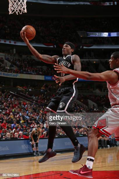 Archie Goodwin of the Brooklyn Nets drives to the basket against the Chicago Bulls on April 12 2017 at the United Center in Chicago Illinois NOTE TO...