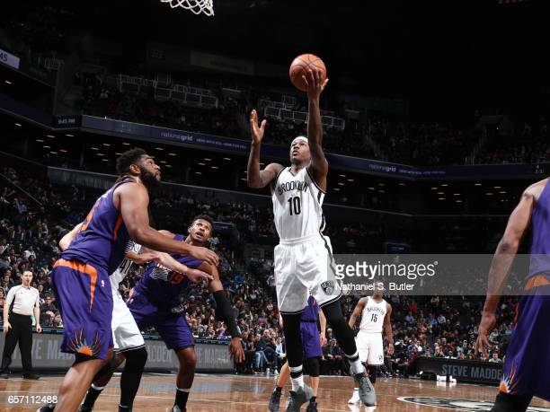 Archie Goodwin of the Brooklyn Nets goes for a lay up against the Phoenix Suns during the game on March 23 2017 at Barclays Center in Brooklyn New...
