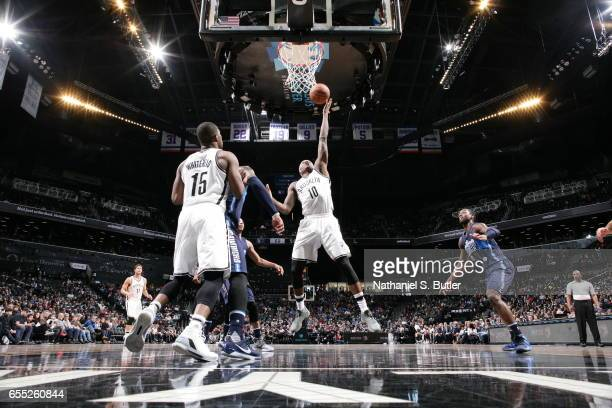 Archie Goodwin of the Brooklyn Nets goes to the basket against the Dallas Mavericks on March 19 2017 at Barclays Center in Brooklyn New York NOTE TO...