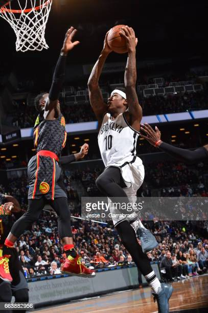 Archie Goodwin of the Brooklyn Nets goes up for the layup against the Atlanta Hawks on April 2 2017 at Barclays Center in Brooklyn New York NOTE TO...