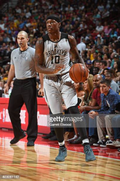 Archie Goodwin of the Brooklyn Nets handles the ball against the Los Angeles Lakers during the Quarterfinals of the 2017 Las Vegas Summer League on...
