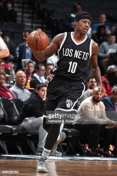 Archie Goodwin of the Brooklyn Nets handles the ball against the Detroit Pistons on March 21 2017 at Barclays Center in Brooklyn New York NOTE TO...