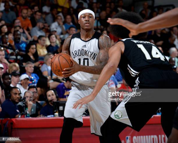 Archie Goodwin of the Brooklyn Nets handles the ball during the game against the Milwaukee Bucks during the 2017 Las Vegas Summer League on July 9...