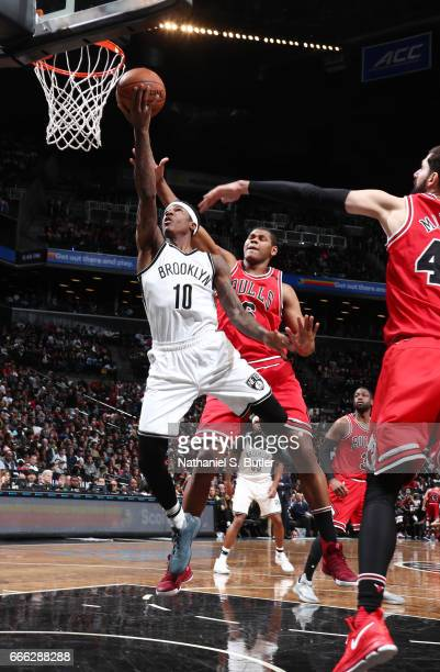 Archie Goodwin of the Brooklyn Nets shoots a lay up against the Chicago Bulls during the game on April 8 2017 at Barclays Center in Brooklyn New York...