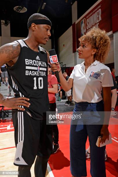 Archie Goodwin of the Brooklyn Nets speaks to Rosalyn GoldOnwude during the 2017 Las Vegas Summer League on July 7 2017 at the Cox Pavilion in Las...
