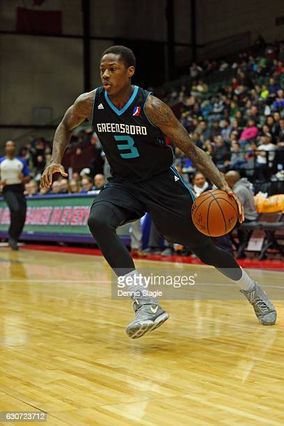 Archie Goodwin of the Greensboro Swarm dribbles the ball against the Grand Rapids Drive at The DeltaPlex Arena on December 30 2016 in Grand Rapids...