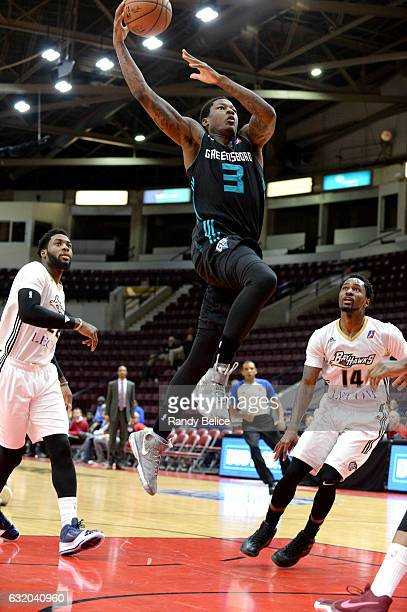 Archie Goodwin of the Greensboro Swarm goes to the basket against the Erie BayHawks as part of 2017 NBA DLeague Showcase at the Hershey Centre on...