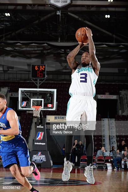 Archie Goodwin of the Greensboro Swarm shoots a jumper during the game against the Delaware 87ers as part of 2017 NBA DLeague Showcase at the Hershey...