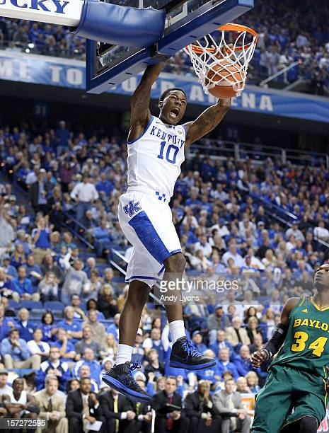 Archie Goodwin of the Kentucky Wildcats dunks the ball during the game against the Baylor Bears at Rupp Arena on December 1 2012 in Lexington Kentucky