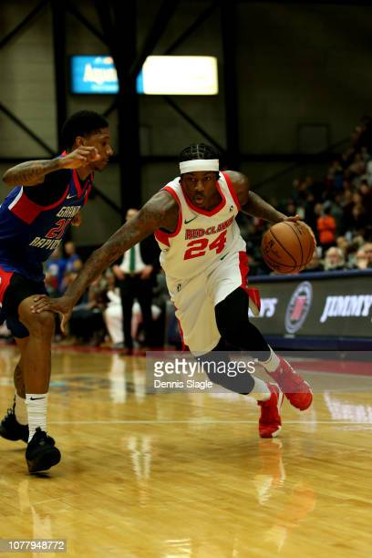 Archie Goodwin of the Maine Red Claws drive to the basket against the Grand Rapids Drive at The DeltaPlex Arena for the NBA GLeague on January 05...