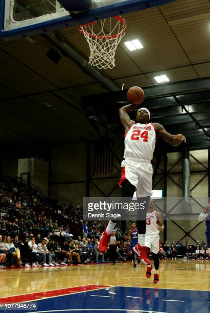 Archie Goodwin of the Maine Red Claws dunks the ball against the Grand Rapids Drive at The DeltaPlex Arena for the NBA GLeague on January 05 2019 in...