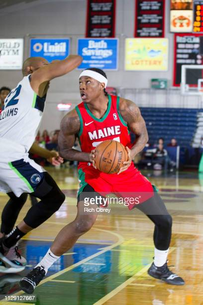 Archie Goodwin of the Maine Red Claws tries to get free for a shot while defended by C J Williams of the Iowa Wolves on Thursday March 7 2019 at the...