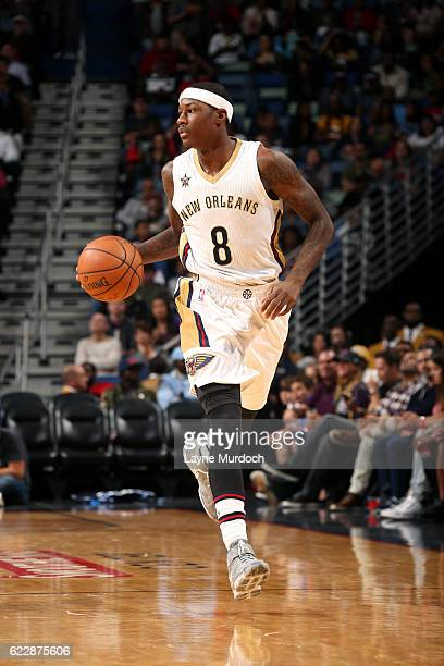 Archie Goodwin of the New Orleans Pelicans brings the ball up court during the game against the Los Angeles Lakers game on November 12 2016 at the...