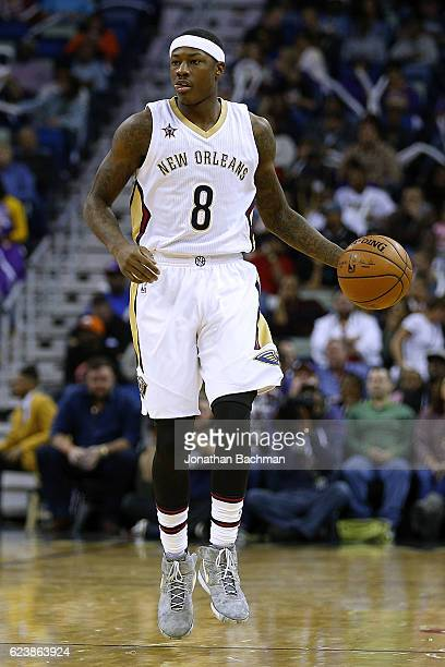 Archie Goodwin of the New Orleans Pelicans drives with the ball during a game against the Los Angeles Lakers at the Smoothie King Center on November...