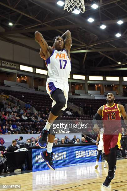 Archie Goodwin of the Northern Arizona Suns dunks the ball against the Canton Charge during the NBA GLeague Showcase on January 12 2018 at the...