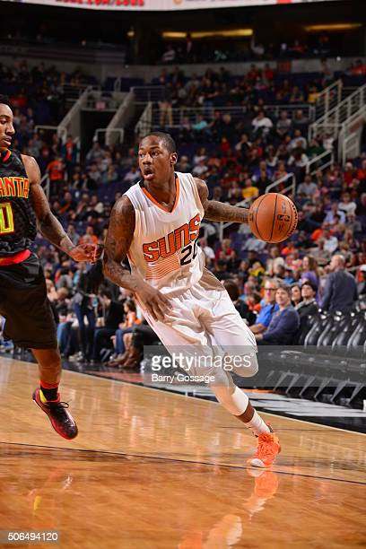 Archie Goodwin of the Phoenix Suns drives to the basket against the Atlanta Hawks on January 23 at Talking Stick Resort Arena in Phoenix Arizona NOTE...