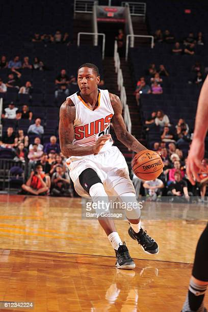 Archie Goodwin of the Phoenix Suns drives to the basket against the San Antonio Spurs during a preseason game on October 3 2016 at Talking Stick...