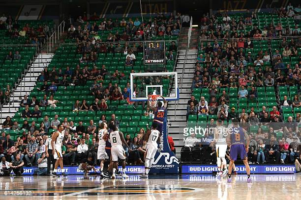 Archie Goodwin of the Phoenix Suns dunks the ball against the Utah Jazz during a preseason game on October 12 2016 at Vivint Smart Home Arena in Salt...