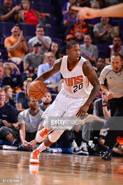 Archie Goodwin of the Phoenix Suns handles the ball against the Dallas Mavericks on October 14 2016 at Talking Stick Resort Arena in Phoenix Arizona...