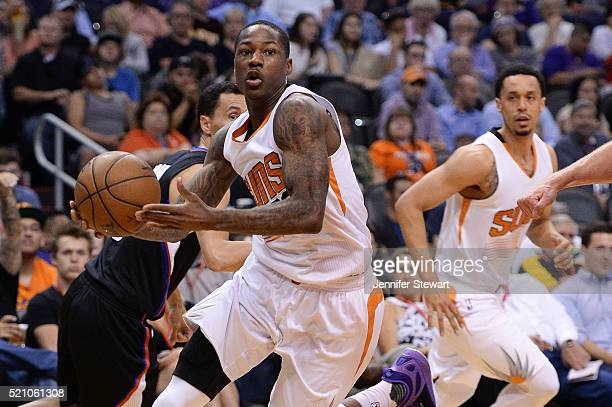 Archie Goodwin of the Phoenix Suns handles the ball in the second half of the NBA game against the Los Angeles Clippers at Talking Stick Resort Arena...