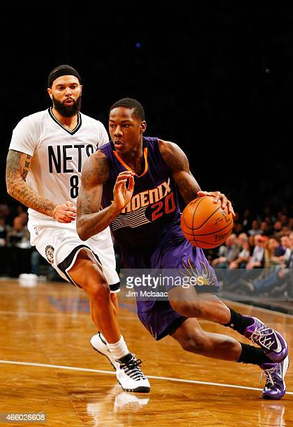 Archie Goodwin of the Phoenix Suns in action against Deron Williams of the Brooklyn Nets at Barclays Center on March 6 2015 in the Brooklyn borough...