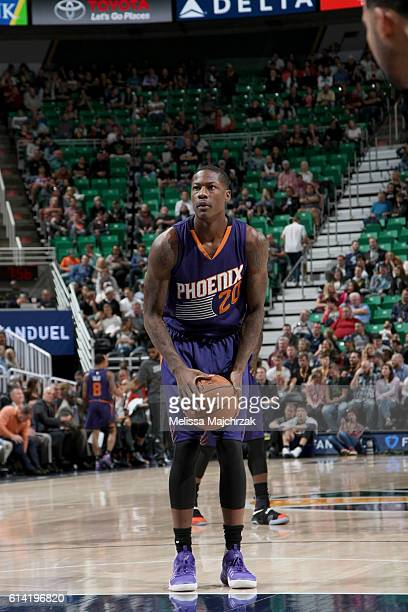 Archie Goodwin of the Phoenix Suns shoots a free throw against the Utah Jazz during a preseason game on October 12 2016 at Vivint Smart Home Arena in...