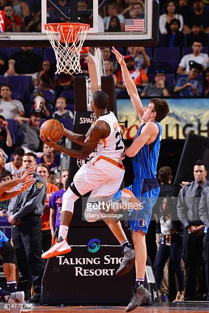 Archie Goodwin of the Phoenix Suns shoots a lay up against the Dallas Mavericks on October 14 2016 at Talking Stick Resort Arena in Phoenix Arizona...