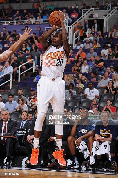 Archie Goodwin of the Phoenix Suns shoots against the Utah Jazz on October 5 at Talking Stick Resort Arena in Phoenix Arizona NOTE TO USER User...