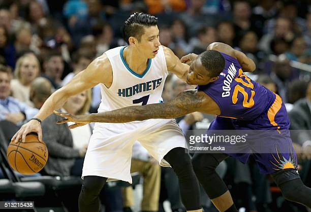 Archie Goodwin of the Phoenix Suns tries to stop Jeremy Lin of the Charlotte Hornets during their game at Time Warner Cable Arena on March 1 2016 in...
