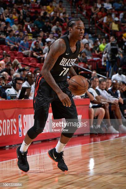 Archie Goodwin of the Portland Trail Blazers dribbles the ball during the 2018 Las Vegas Summer League Championship game against the Los Angeles...