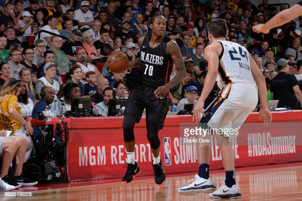 Archie Goodwin of the Portland Trail Blazers handles the ball against the Utah Jazz during the 2018 Las Vegas Summer League on July 7 2018 at the Cox...