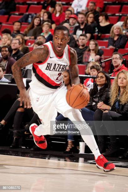 Archie Goodwin of the Portland Trail Blazers handles the ball during the preseason game against the Maccabi Haifa on October 13 2017 at the Moda...