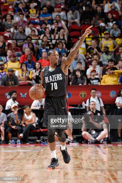 Archie Goodwin of the Portland Trail Blazers taunts during the game against the Los Angeles Lakers during the 2018 Las Vegas Summer League on July 17...