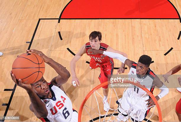 Archie Goodwin of the USA Junior Select Team shoots against the World Select Team during the 2012 Hoop Summit on April 7 2012 at the Rose Garden...