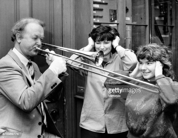 Archie MacPherson Sports Commentator who is also rector of Edinburgh University attempts to play a 1594 sackbut trombone believed to be the oldest...