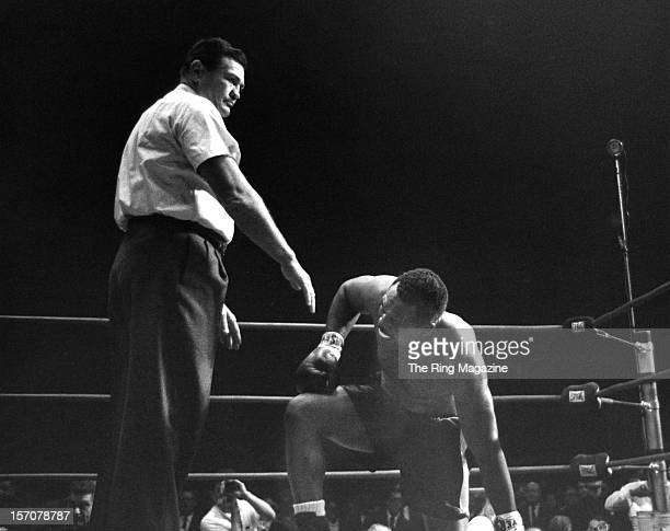 Archie Moore tries to get up after being knocked down by Cassius Clay at the Forum on November 15 1962 in Los AngelesCalifornia Cassius Clay won by a...