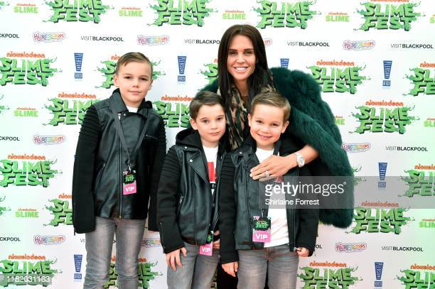 Archie O'Hara George O'Hara Danielle Lloyd and Harry O'Hara attend the Nickelodoen Slimefest at Blackpool Pleasure Beach on October 19 2019 in...