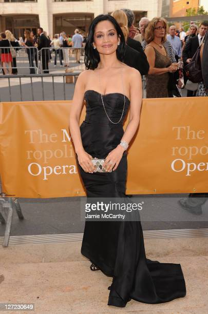 Archie Panjabi attends the 2011 Metropolitan Opera Season opening night performance of Anna Bolena at The Metropolitan Opera House on September 26...