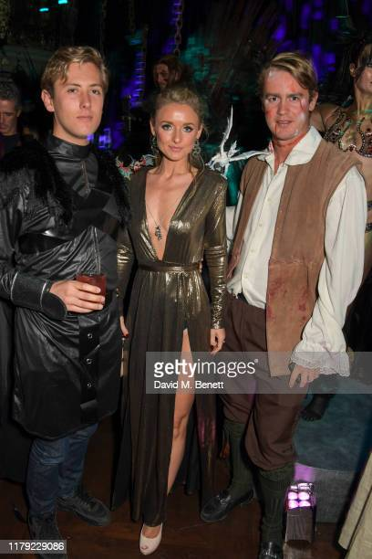 Archie Rutland, Camilla Blandford and George Spencer-Churchill attend Annabel's Halloween Party on October 31, 2019 in London, England.